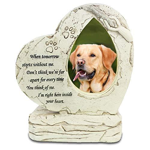 Meiyaa - Piedra conmemorativa para mascotas en forma de corazón, personalizable con campanillas de viento y poema de simpatía para perro o gato, pérdida de mascotas