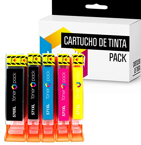 5 TONERPACK PGI 570 XL CLI 571 XL Cartuchos de Tinta Compatible para impresoras Canon Pixma MG 5750, 5751, 5752, 5753, 6850, 6851, 6852, 6853, 7750, 7751, 7752, 7753, TS 5050 (Pack 5)