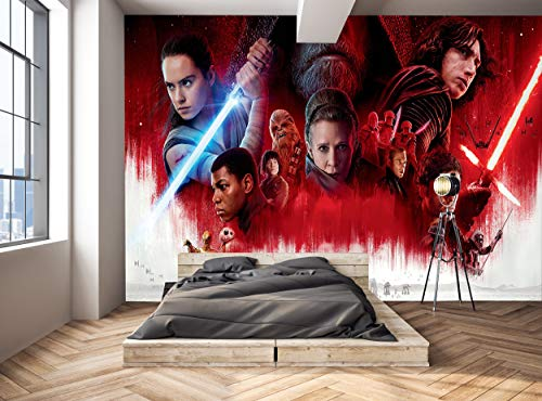 Star Wars Wall Mural for Boys Children's Kids Teenager's Bedroom The Last Jedi Photo Wallpaper Wall Decor W 366 cm x H 254 cm Wallpaper Murals Decals Picture Giant Paper Poster