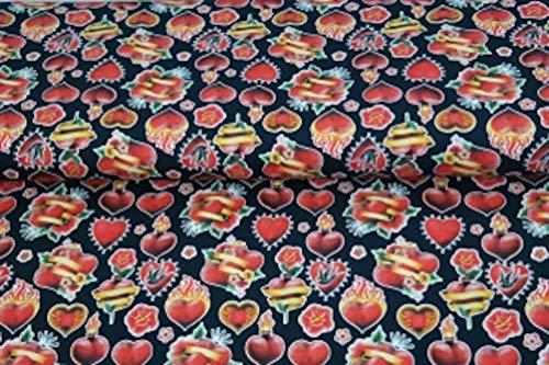 Stenzo – Jersey Stoff für Kinder mit Herzen I Digital Druck Baumwolljersey Meterware I 150 x 50 cm I schwarz, rot