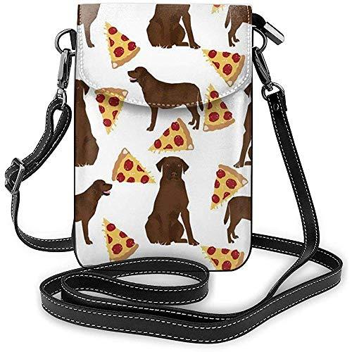 Inner-shop Smartphone Brieftasche Crossbody Handy Geldbörse HandytascheSchultertasche Tragetaschen (Chocolate Labrador Pizza)