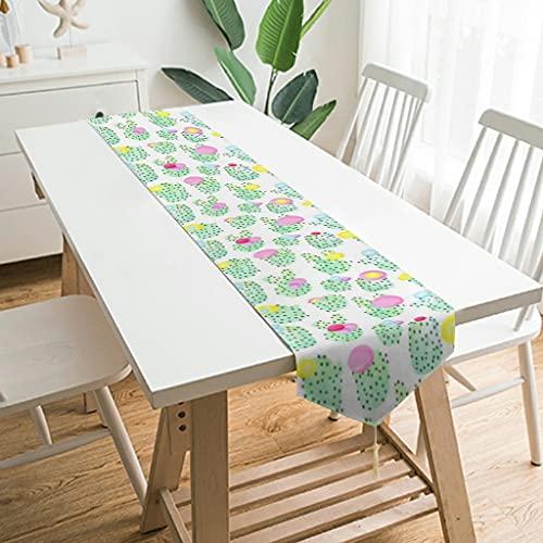 Camino de mesa de peluche suave con diseño de flor verde y cactus para decoración de mesa para fiestas, bodas, banquetes y decoración, color blanco, 178 x 33 cm