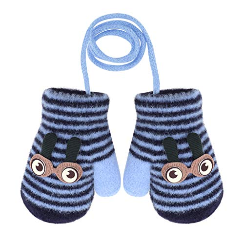 Guantoni simpatici per neonati, invernali, con corda, morbidi, anti-smarrimento, in cotone, fodera in peluche, per neonata, 1-3 mesi