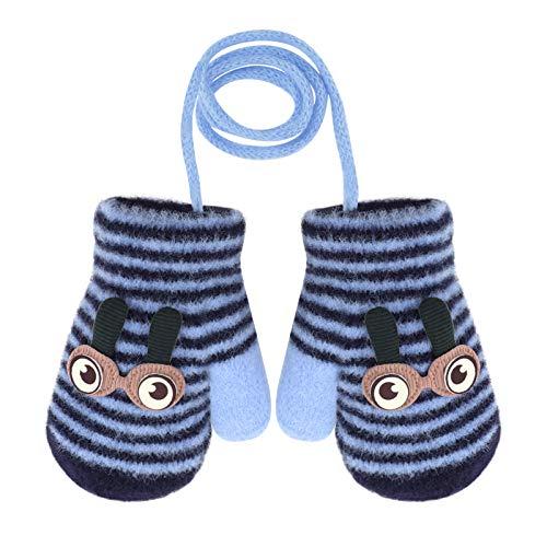 YSXY Unisex Kinder Handschuhe Plüsch Fäustlinge Warme Winter Fausthandschuhe Strickhandschuhe für Klienkind Mädchen und Jungen (Dunkelblau-Augen)