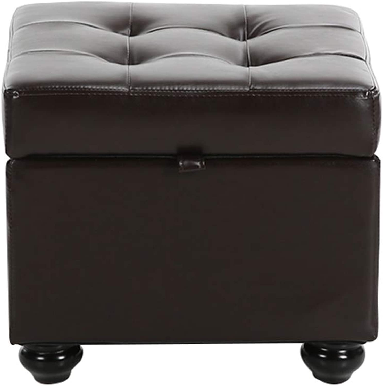 European Minimalist Sofa Stool, Bedroom Living Room Storage Stool - Leather Storage Stool - 44x44x37cm