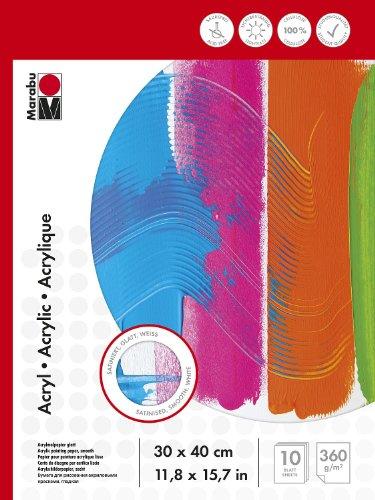 Marabu 1612000000013 - Malblock für Acrylmalerei, 360 g/qm, 10 Blatt, 30 x 40 cm, weiß, Acrylmalpapier satiniert, glatt, säurefrei, aus Cellulose, für Acrylmalerei, Gouache und Deckfarben geeignet