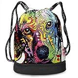 PmseK Sac à Dos imprimé avec Cordon de Serrage, Boxer Dog Drawstring Backpack Bags Sack Pack Cinch Storage Bag for Traveling...