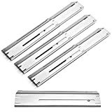 Unicook Grill Heat Plate 4 Pack, Heavy Duty Stainless Steel Heat Shield Replacement Parts, Adjustable BBQ Flame Tamer, Burner Cover, Flavorizer Bar for Gas Grill, Extend from 11.75' up to 21' Length