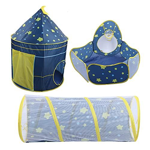 Namiot do zabawy, namiot dla dzieci 3 w 1 basen z piłeczkami tunel do pełzania gwiaździste niebo dziecko bawiący się namiotem, idealny na przygodę w tle i pełzający tunel