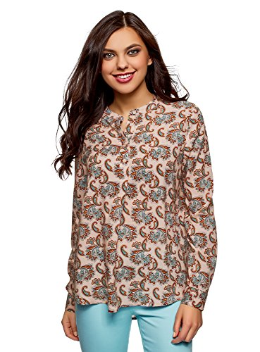 oodji Collection Mujer Blusa de Viscosa de Silueta en A, Turquesa, ES 40 / M