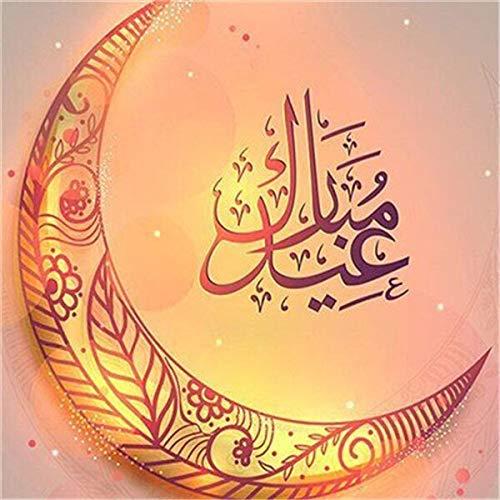 neivy Muslim Moon Icon 5D DIY Diamantmalerei Komplette Volldiamant Kristall Strass Mosaik Handwerk Erwachsene und Kinder Geschenk Home Wanddekoration Kunst (Quadrat 40x40cm)