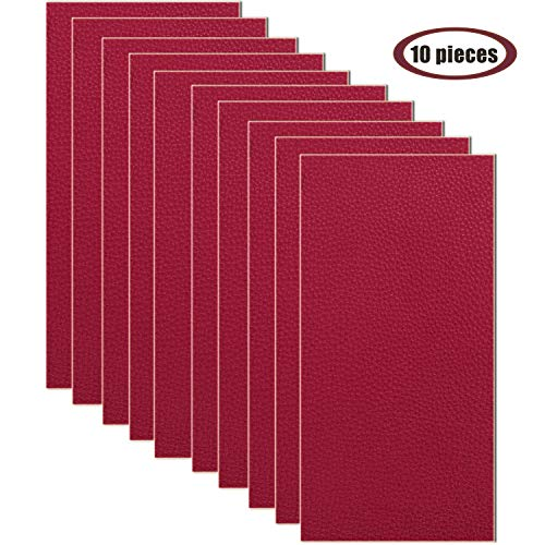 10 Pieces Leather Patches Leather Repair Kit for Couch Furniture Sofas Car Seats Handbags Jackets 3.9 x 7.9 inch/pcs (Dark Red)