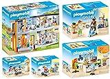 Playmobil Juego de 5 hospitales City Life 70190 70195 70196 70197 70198 + cuatro médicos: fisioterapeuta, radiólogo, oftalmólogo, dentista y dentista