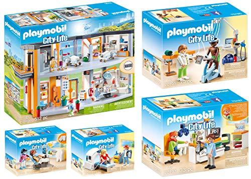 Playmobil® Juego de 5 hospitales City Life 70190 70195 70196 70197 70198 + cuatro médicos: fisioterapeuta, radiólogo, oftalmólogo, dentista y dentista