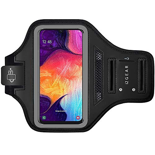 i2 Gear Running Armband Phone Case for Samsung Galaxy A51, A50, A30, A20 & A10 - Cell Phone Holder with Air Vent for Exercise & Working Out Plus Key Holder - Black