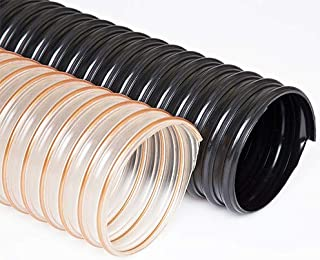 Pack of 5 Light weight clear or black polyurethane hose reinforced with a bronze coated spring steel wire helix 8.000 in ID Ducting Hose