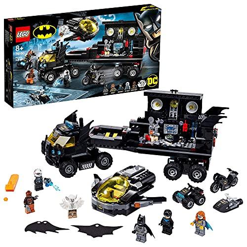 Super Heroes DC Comics Batman Batbase Móvil Batcueva Camión de Juguete con Avión Jet, Quad, Motocicleta y Moto Acuática, multicolor (Lego ES 76160)
