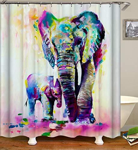 Ollt Polyester Duschvorhänge, 3D Art Farbe Elefant Malerei dekorative Duschvorhang, waschbar Mehltau widerstandsfähig Bad Vorhang 200x240cm
