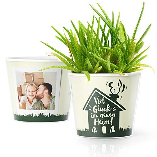 Facepot Haussegen Geschenk Blumentopf (ø16cm) | Deko Einweihungsgeschenk für Haus, Wohnung, Umzug oder zum Richtfest mit Bilderrahmen für 2 Fotos (10x15cm) | Viel Glück im neuen Heim