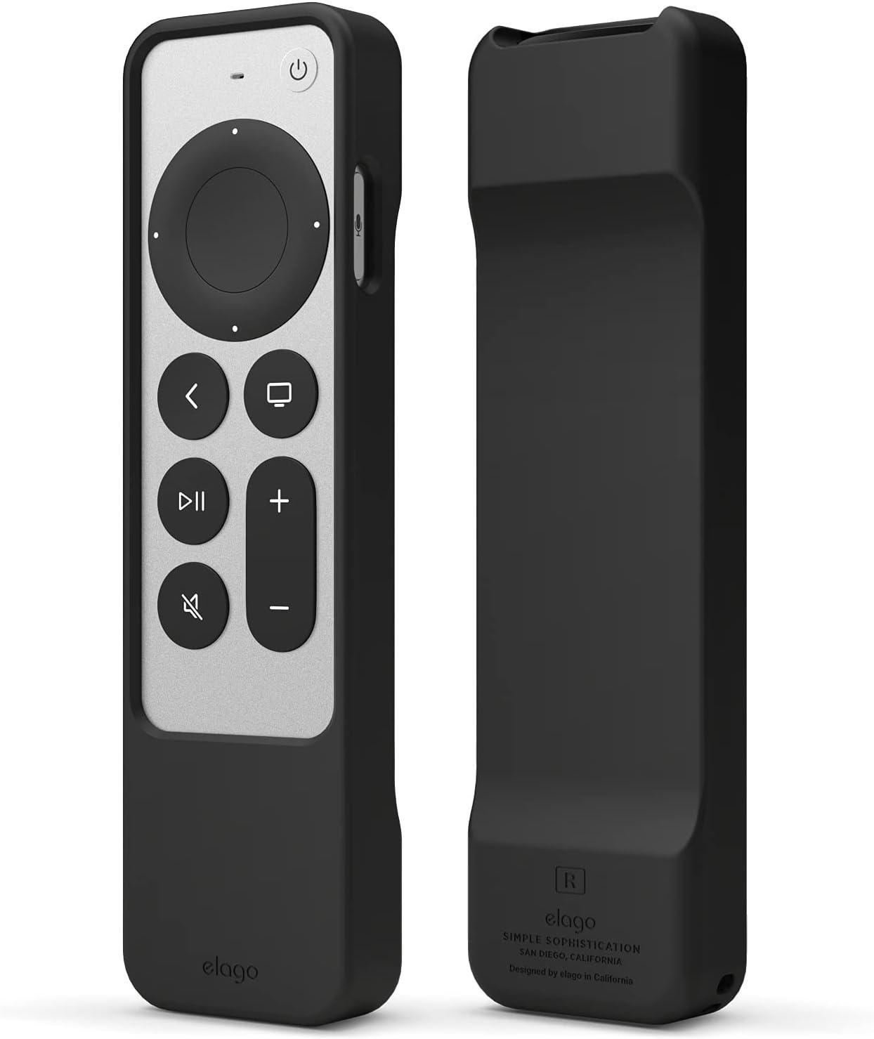 elago Funda R1 Compatible con Apple TV 4K Siri Remote (2021), Tecnología magnética, Cordón Incluido, Gran Agarre, Absorción de Golpes, Protección, Acceso a Todas Las Funciones (Negro)