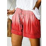 BUXIANGGAN Shorts Pantalones Cortos Mujer Pantalones Cortos Deportivos Sueltos De Lino De Algodón para Mujer con Lazo Cintura Elástica Estilo Casual Colección De Ropa De Calle-Rojo_4XL