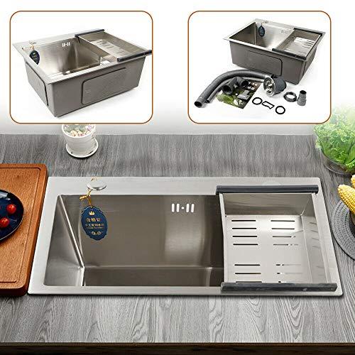 1platillos Acero Inoxidable fregadero escurridor fregadero fregadero cocina rectangular rectangular fregadero–Fregadero de cocina 50x 36x 22cm (L x B x T)