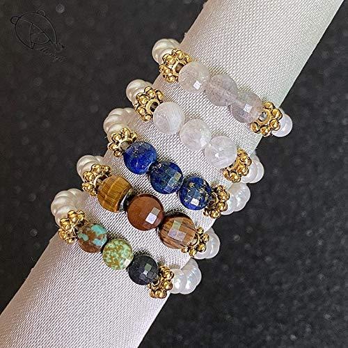 KEJI Anillos de boda de piedra natural multi color para las mujeres todos hechos a mano cuerda elástica cadena perlas piedra lunar cuentas anillos