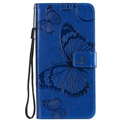 DENDICO Cover Galaxy A10 / Galaxy M10, Pelle Portafoglio Custodia per Samsung Galaxy A10 / Galaxy M10 Custodia a Libro con Funzione di appoggio e Porta Carte di cRossoito - Blu