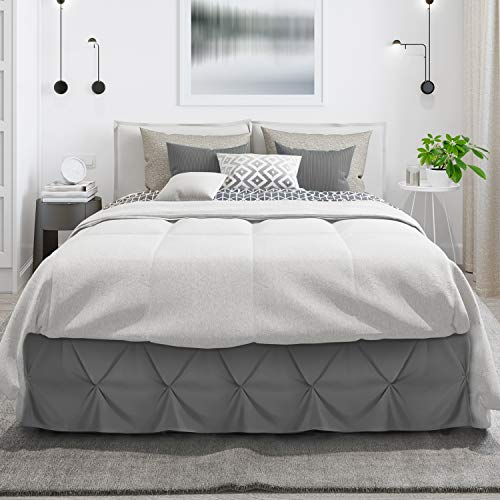 "Pinch Pleat Bed Skirt, Pleated Wrap Around Bed Skirt, Easy Fit 14"" Inch Pintuck Bed Skirt, Soft Premium Microfiber Ruffle Bed Skirt, Luxury Bedskirt, Hotel Quality Dust Ruffle, King Bed Skirt Gray"