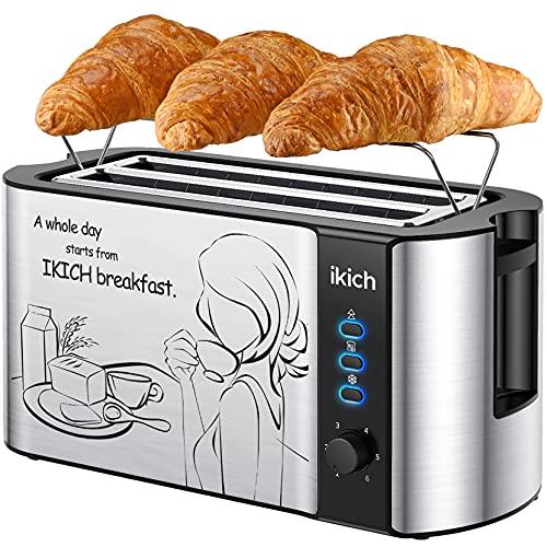 IKICH Toaster 4 Scheiben, Toaster Langschlitz mit brötchenaufsatz Edelstahlschale, 6 Bräunungsstufen/Auftaufunktion/wärmeisolierendes Gehäuse/herausnehmbare Krümelschublade, Schwarz/1500W
