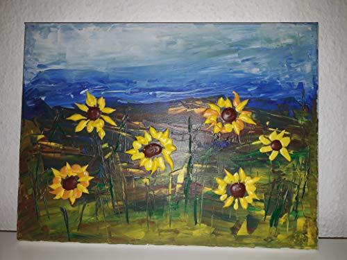 Original Sonnenblumen Acryl Malerei Sonnenblumenfeld Unikat Kunst Leinwand Bild bunt
