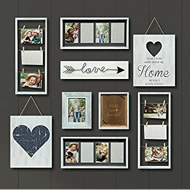 Gallery Perfect 9 Piece Rustic Whitewash Collage Frame Wall Gallery Kit