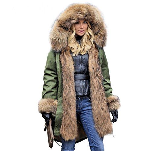 Lea Marie Parka XXL Kragen aus 100% ECHTPELZ ECHTFELL Jacke Mantel Kaninchen Fütterung (M / 36)