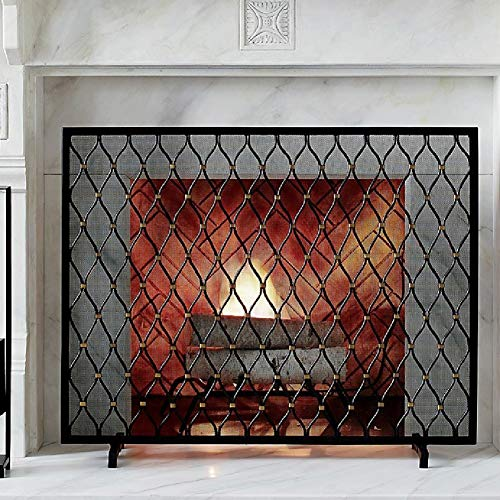 Buy Bargain Fireplace Screens YXX- Single Panel Iron, Home Living Room Decor Fire Place Screens, Bab...