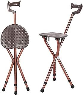 WANGYONGQI 2 in 1 Folding Aluminium Lightweight Walking Stick with Seat Mobility Tripod Stool Portable Walking Cane Chair for Elder