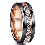 [Vakki(ヴァッキ)] 指輪 メンズ リング タングステン ドラゴン 竜紋 平打ち 幅:8mm カラー:ピンクゴールド 10号