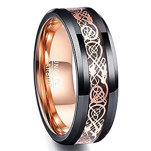 NUNCAD Ring Wolfram Herren/Damen 8mm breit, blau keltische Drachen mit Kohlefasern für Hochzeit, Verlobung, Trauung und Geburtstag