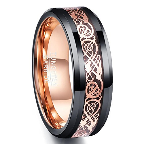 NUNCAD Ladies/Men Rose Gold Celtic Dragon Inlay,Unisex Tungsten Carbide Ring Special for Wedding,Engagement,Fashion,Comfort Fit,Size Z