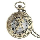 LWCOTTAGE Reloj De Bolsillo De Cuarzo - 12 Constelación Astrología Zodíaco Reloj De Bolsillo Retro Collar De Bronce Colgante Hombres Mujeres Cubierta Abatible Hueca Cuarzo, Acuario, Ca