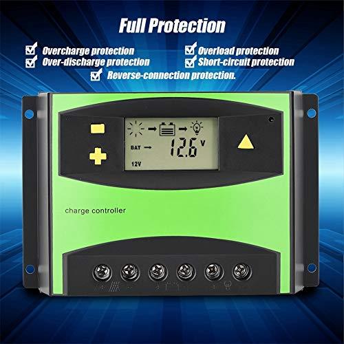 Liujaos Controlador de Carga Solar, Controlador Solar LCD 20A 30A 40A 50A 60A, Rendimiento Estable de protección Completa para Vallas publicitarias de luz Solar de luz Verde Solar(60A)