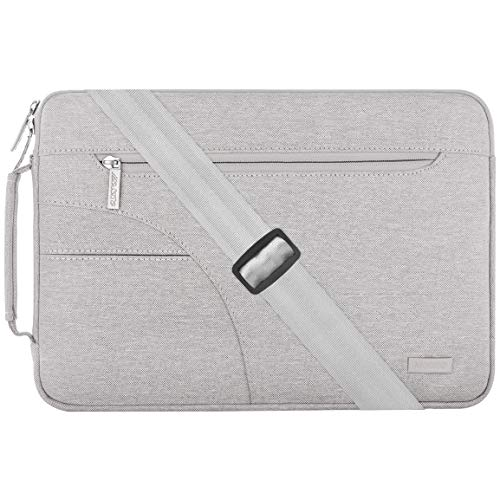 MOSISO Laptop Shoulder Bag Compatible with 13-13.3 inch MacBook Pro, MacBook Air, Notebook Computer, Polyester Briefcase Sleeve with Side Handle, Gray