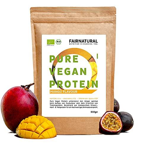 VEGAN Protein-Pulver BIO Mango ohne Soja [aus Deutschland] - 3K Bio Reis-, Hanfprotein & Erbsenprotein »Zum Backen & als Bio Protein-Shake« 650g Veganes Bio Eiweiß-Pulver