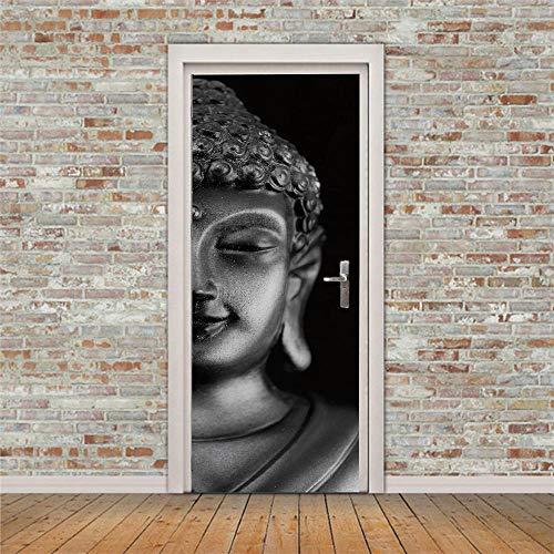 SMHCHA 3d Pegatinas de Pared Estatua de Buda gris 77X200CM Creativo mural de puerta...