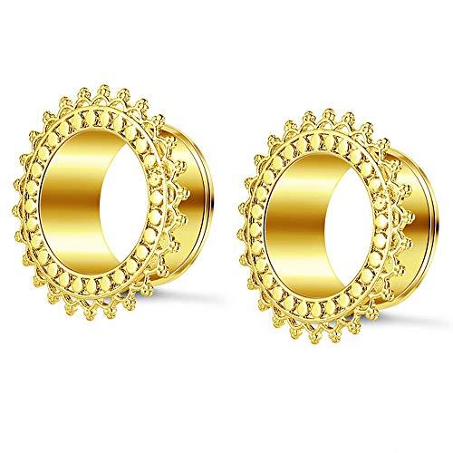 jklj Túneles 1 Par tapón de Oreja Personalidad Tapones para Orejas Túneles Acero Inoxidable Ear Pendientes de expansión Ear Tunnel Unisex para la perforación del Cuerpo. (Color : Gold, Size : 10mm)