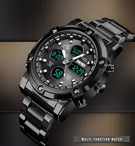 S&Mo, orologio da polso da uomo, al quarzo, con doppio display, 1389 Silver strap,black dial