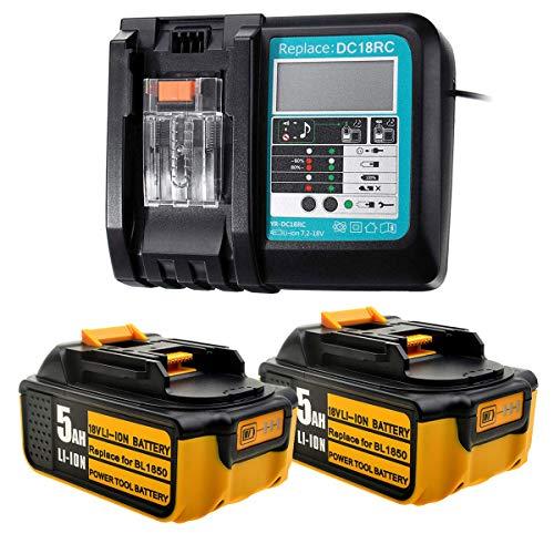 Ersatz 2Stk 5Ah 18V Batterien BL1850+ DC18RC 3A 18V Ladegerät mit LED-Bildschirm für Makita Akku Gummi BL1850B BL1860B BL1860 BL1840 BL1845 BL1835 BL1830 LXT-400 DC18RA DC18RD