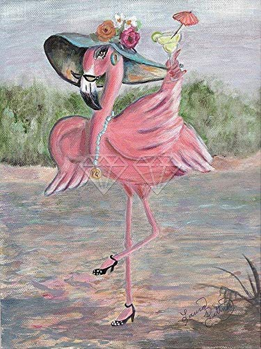 HFWYF Adult 5D Diamond Painting Toolkit Frameless Cartoon flamingo beach rooster Personalized Diamond Painting Kit Perfect for Parent Child Activity and Child Gift 30x40cm