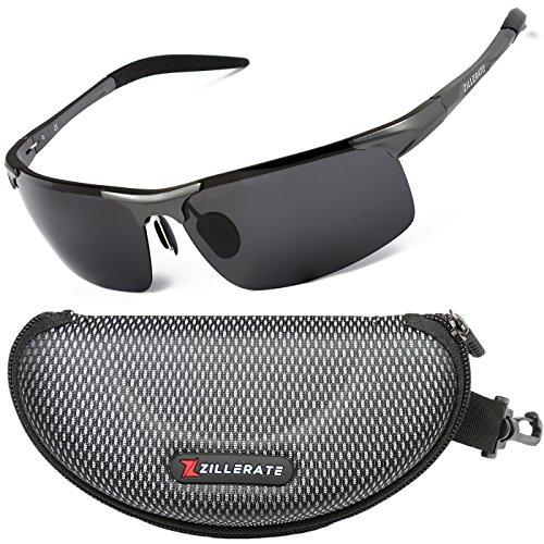 ZILLERATE Sonnenbrille mit polarisierten Gläsern für Männer & Frauen, Herren & Damen-Sonnenbrille für Radfahren, Angeln, Segeln, Wandern, UV-Schutz, leichter Metallrahmen [Gun Grau]