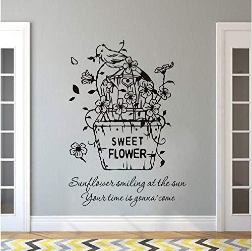 Schattige bloem wandtattoo bloemen mand inyl wandsticker bloempot vogel wandfoto huis slaapkamer decor bloemen vinyl art 57 * 81 cm