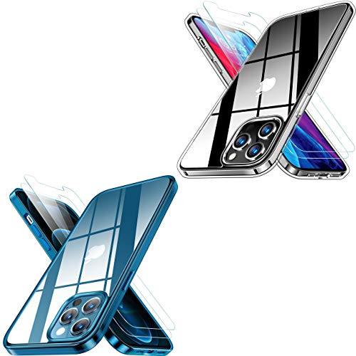 RANVOO Crystal Clear Designed for iPhone 12 Pro Max/iPhone 12/iPhone 12 Pro Case with 2 Screen Protectors, Protective Shockproof Cover for iPhone 12 6.1 and 6.7 inch
